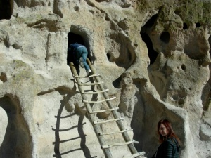 Exploring the cliff dwellings in Bandelier National Monument