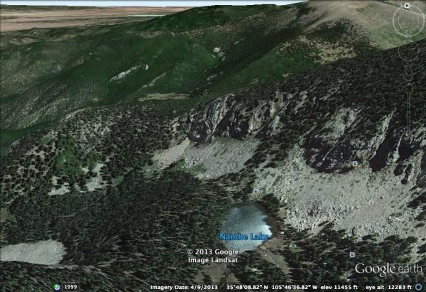 Talus piles flanking the cliffs above Nambe Lake near Santa Fe